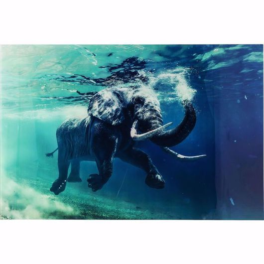 Picture of Swimming Elephant Glass 180