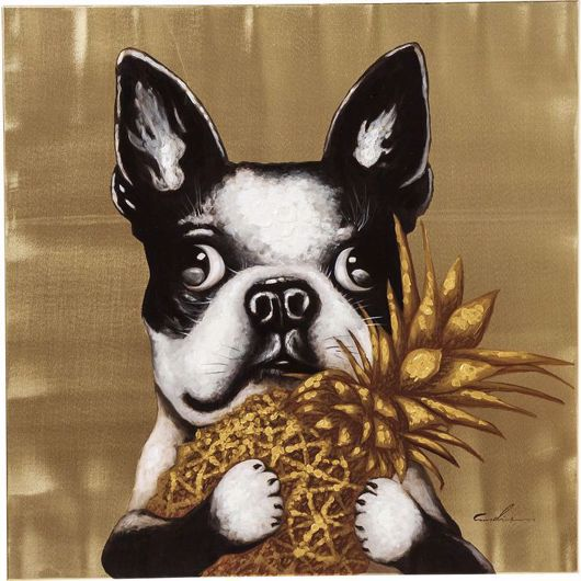 Picture of Dog with Pineapple Hand Touched
