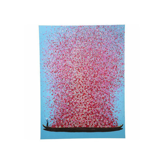 Image de Flower Boat 160 Hand Touched - Blue+Pink