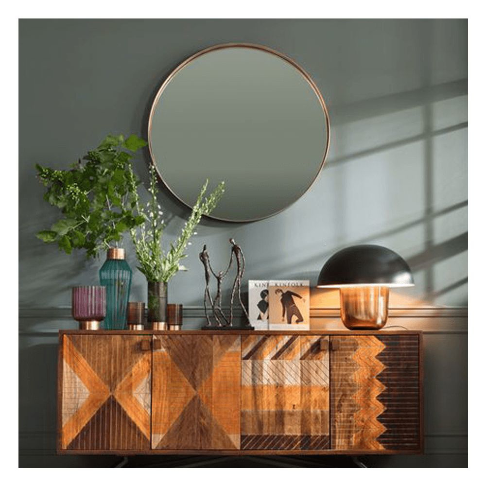 图片 Curve 100 Round Mirror - Brass