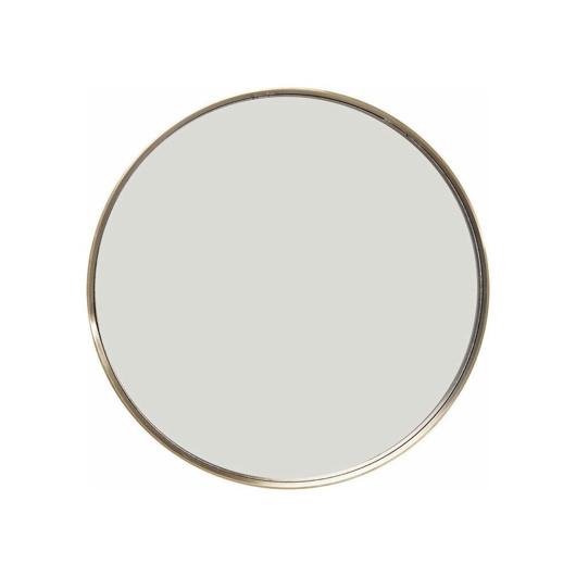 Brass metal framed round mirror